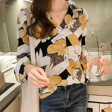 Lapel Floral Printed Long Sleeve Blouse