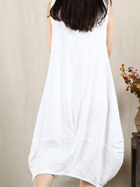 Women Cocoon Daily Sleeveless Cotton Solid Dress