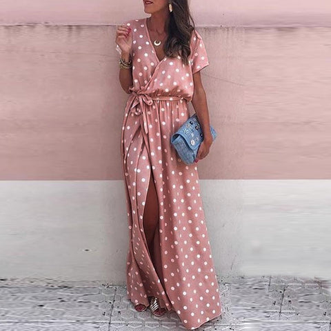 Sexy Pink Wave Point Vacation Maxi Dress