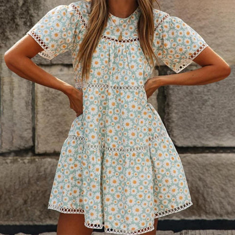 Fifity Trendy Hollow-Out Print Short Sleeve Mini Dress