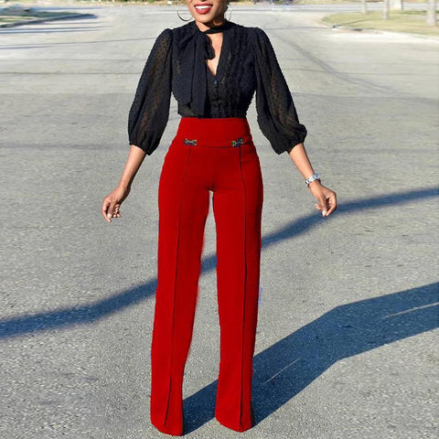 Elegant High-Waist Pure Colour Straight Pants