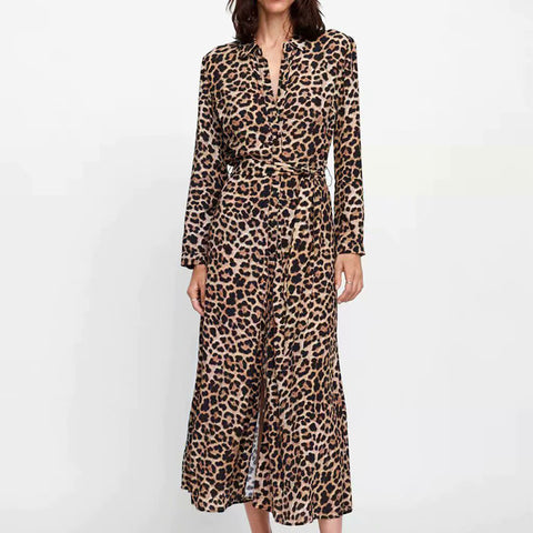Lapel V Neck Leopard Printed Long Sleeve Belt Maxi Dress