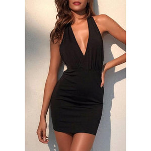 Halter  Chain  Back Hole  Plain Bodycon Dresses