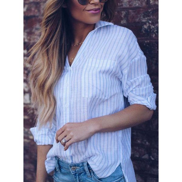 V Neck Slit Striped Blouses