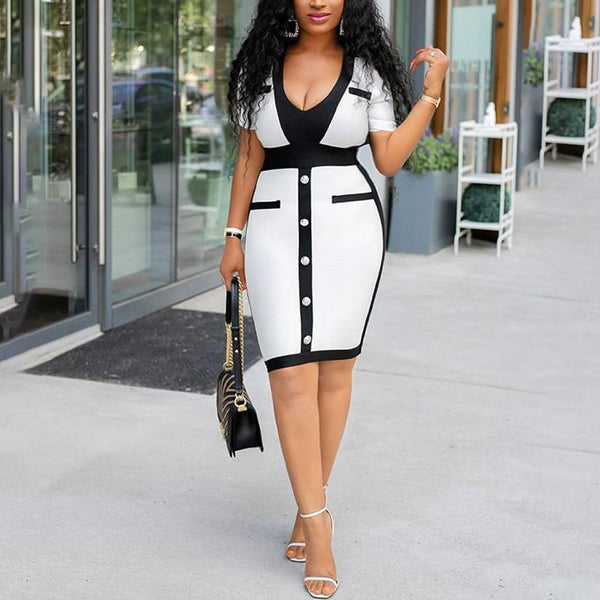 Sexy Black And White Colorblock Deep V Short Sleeve Bodycon Dress
