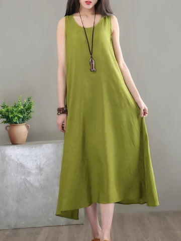 Women Daytime Sleeveless Cotton Jacquard Plain Dress