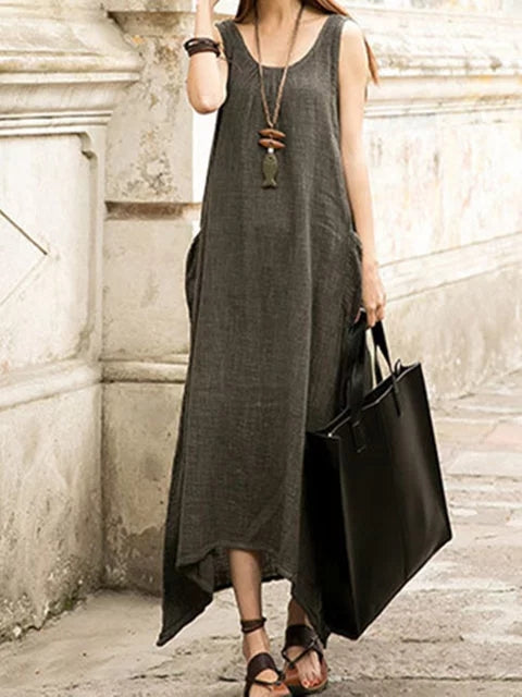 Plus Size Women Daily Cotton Sleeveless Casual Pockets Solid Dress