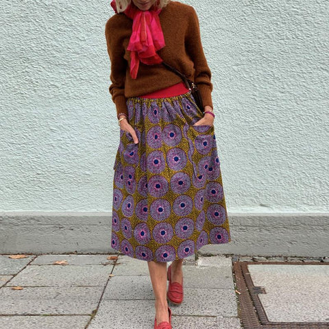 Ladies Fashion Casual Nordic Vintage Style Print Skirt RY58