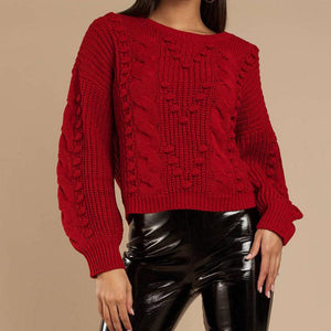 Chunky Balloon Sleeve Cable Knitted Sweater