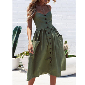 Spaghetti Strap Patch Pocket Plain Skater Dress