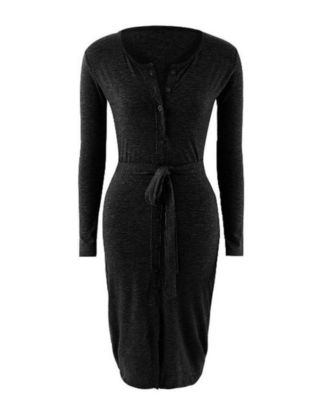 Women Sheath Going out Long Sleeve Elegant Slit Solid Dress