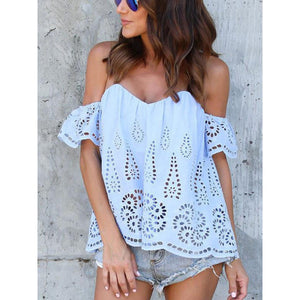 Off Shoulder Backless Hollow Out Plain Blouses
