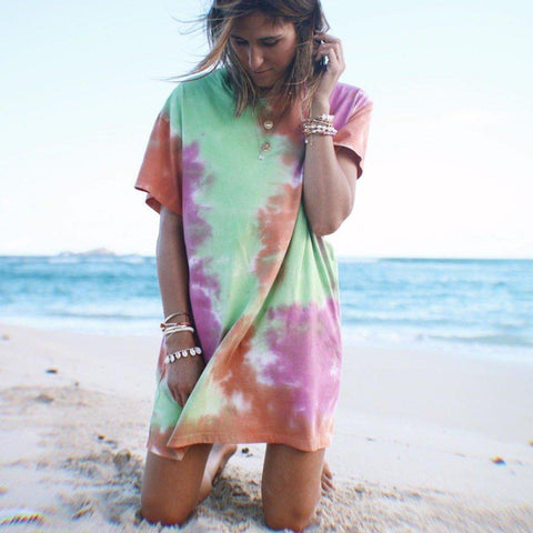 Fifity Glamorous Round Neck Short Sleeve Tie Dye Loose Beach Dress