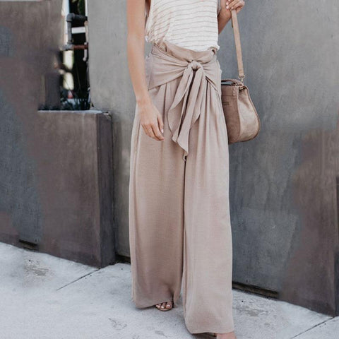 Loose Fitting  Belt  Plain Pants