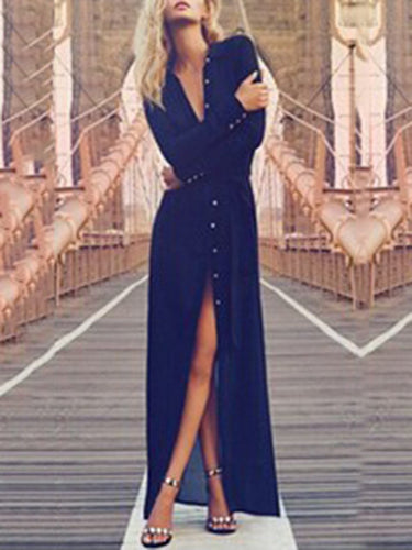 Women Shift Daily Long Sleeve Slit Solid Dress