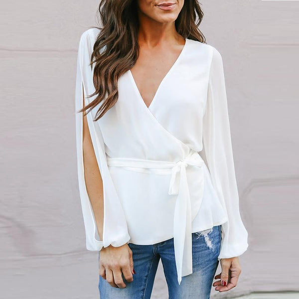 Deep V Neck Bowknot Cutout Belt Loops Plain Blouses