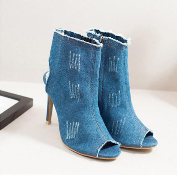 Plain Stiletto High Heeled Denim Peep Toe Date Boots