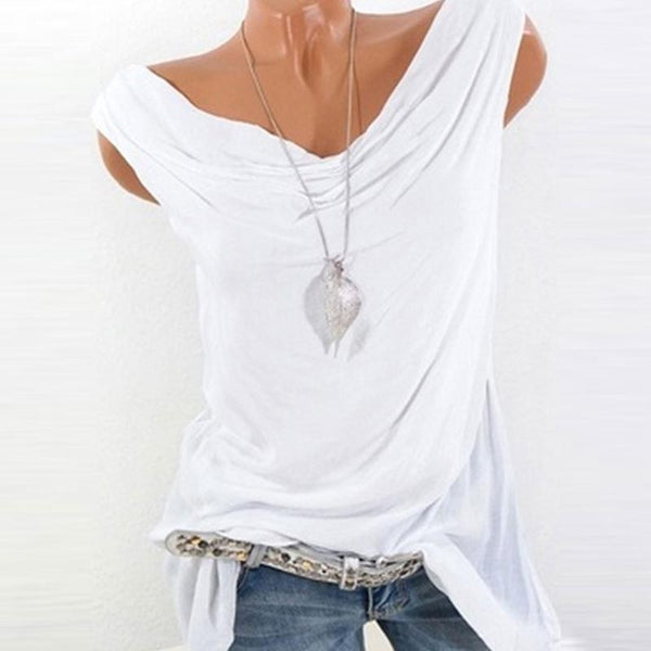 Summer  Cotton  Women  Cowl Neck  Plain Sleeveless T-Shirts