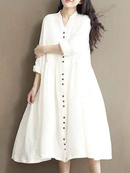Stand Collar Women Daytime Linen Long Sleeve Casual Buttoned Solid Dress