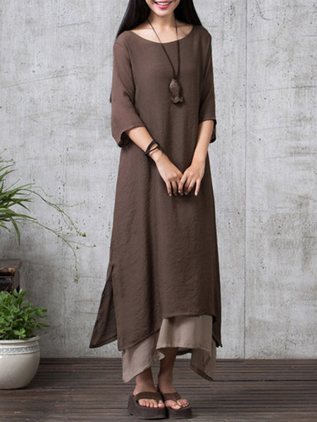 Plus Size Women Shift Daytime 3/4 Sleeve Cotton Paneled Solid Dress