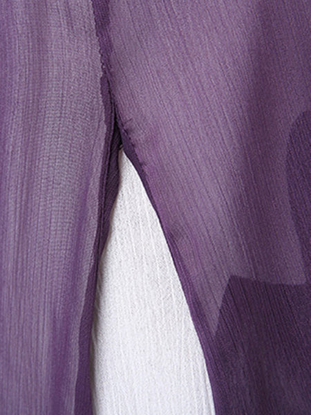 Women Violet Daytime Short Sleeve Linen Paneled Dress