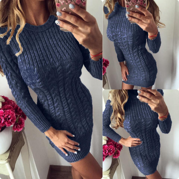 Round Neck Long Sleeve Plain Fitting Knitting Bodycon Dresses