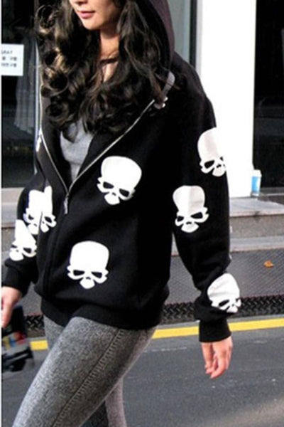 Hooded  Loose Fitting  Animal Prints Cardigans
