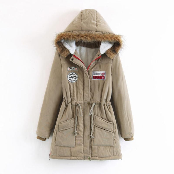 Faux Fur Collar Drawstring Pockets Women Hooded Long Parka Jacket Coat