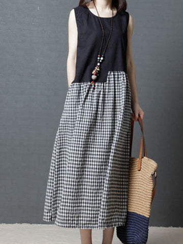 Women Black Sleeveless Cotton Gingham Dress