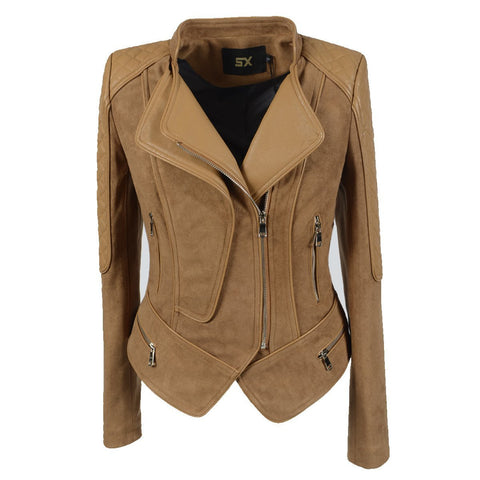 High Neck Lapel Zippers Women Slim Irregular Short Jacket