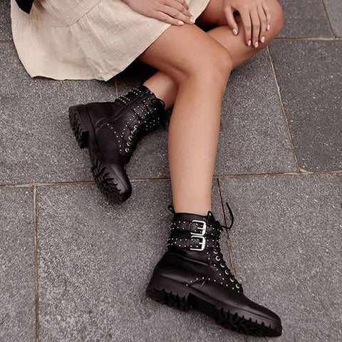 Punk Women Belt Buckle Rivet Non-slip Boots