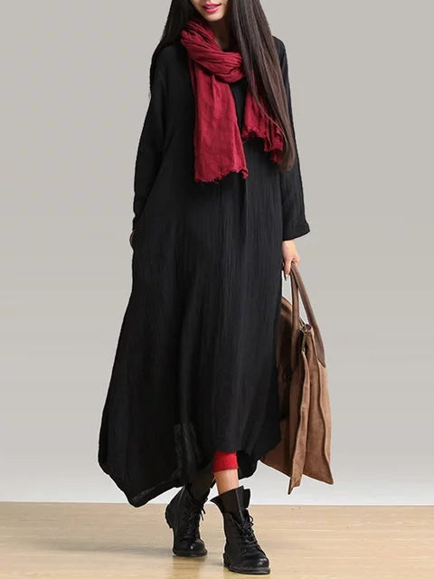 V neck Women Black Shift Linen Casual Long Sleeve Folds Dress