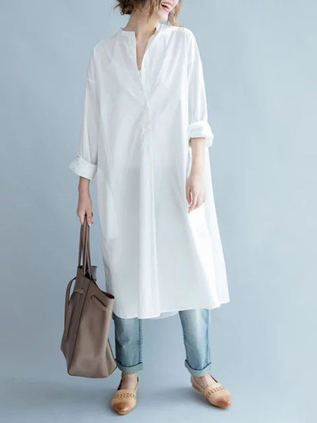 Stand Collar Women White Shift Daytime Cotton-blend Long Sleeve Solid Dress