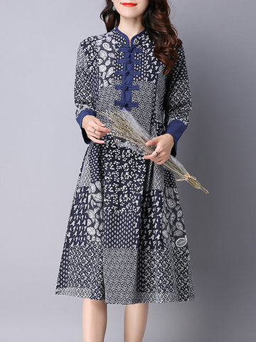 Stand Collar Women Navy Blue A-line Daytime Casual Long Sleeve Printed Floral Dress