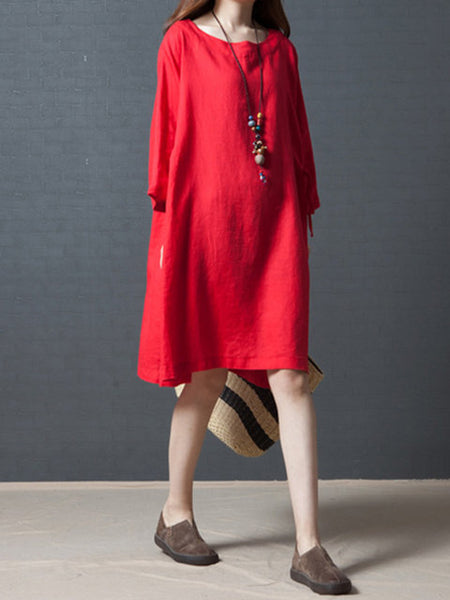 Women Daily Casual 3/4 Sleeve Gathered Dress