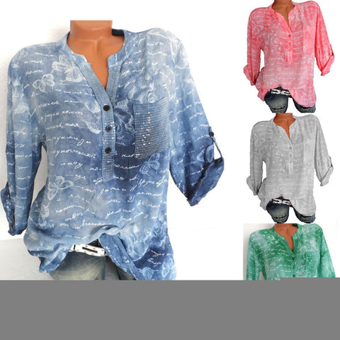 Butterfly Print V-Neck Shirt