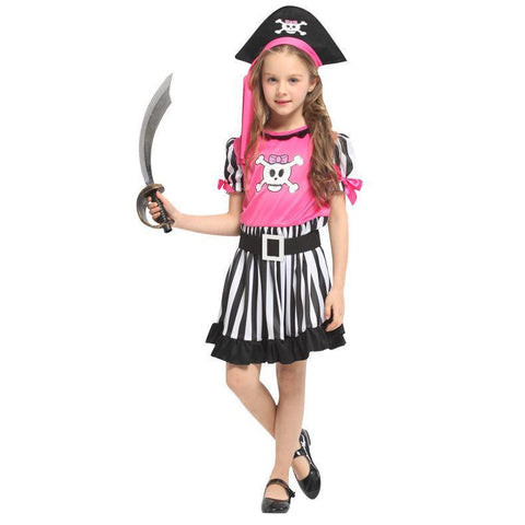 Halloween Costumes for Girls Pink Skull Pirate Costume Party Carnival Fancy Dress