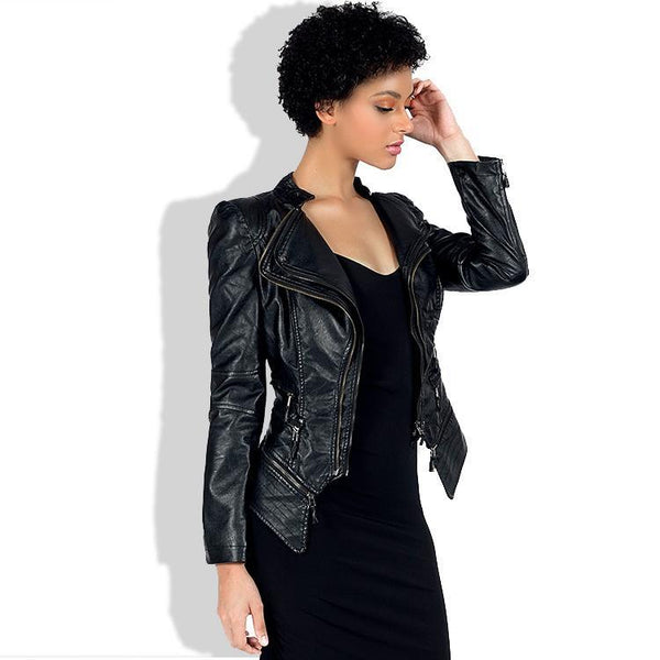 Irregular Lapel Zippers Women Slim Motorcycle Short PU Jacket