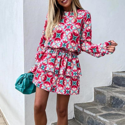 Fifity Vintage Print Long Sleeve Tiered Mini Dress