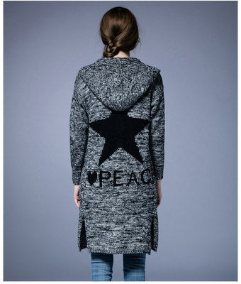 Hooded Patch Pocket Letters Star Coat