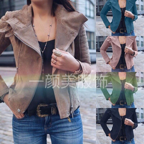 Solid Color Lapel Zippers Women Slim Short Jacket with Plus Size