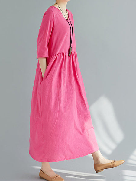 Women Shift 3/4 Sleeve Cotton Pockets Solid Dress