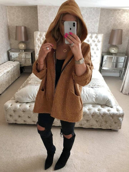 Candy Color Zipper Pockets Women Loose Hooded Oversized Coat