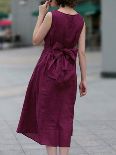 Women A-line Daily Sleeveless Solid Dress