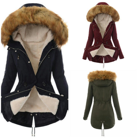 Faux Fur Collar Zippers Slim Women Oversized Long Hooded Parka Jacket Coat