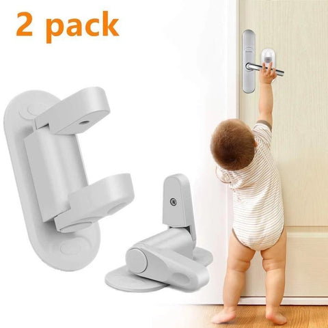 2 Pack Door Lever Lock Child Safety Proof Doors & Handles 3M Adhesive