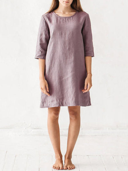 Women Shift Daytime 3/4 Sleeve Solid Dress