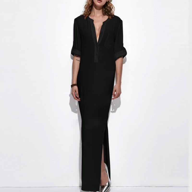 Band Collar  Patch Pocket  Plain  Polyester Maxi Dress