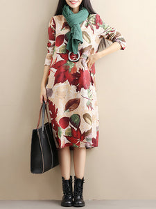 Women Daytime Cotton Long Sleeve Printed Floral Dress
