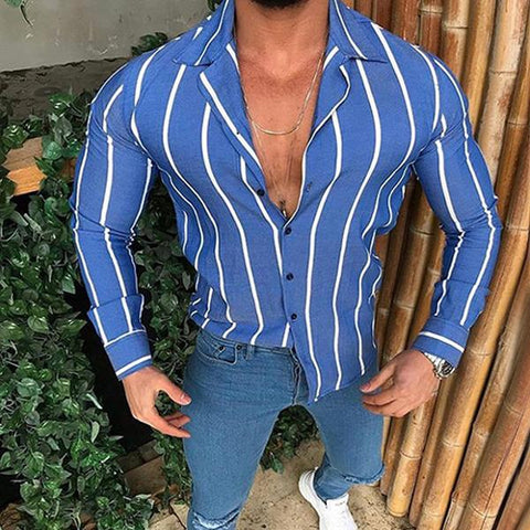 Men's Lapel Single Breasted Vertical Stripe Casual Shirt